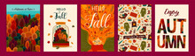 Set Of Cute Autumn Illustrations. Vector Templates For Card, Poster, Flyer, Cover And Other Use.