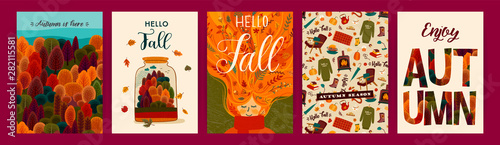 Fototapeta Set of cute autumn illustrations. Vector templates for card, poster, flyer, cover and other use. obraz
