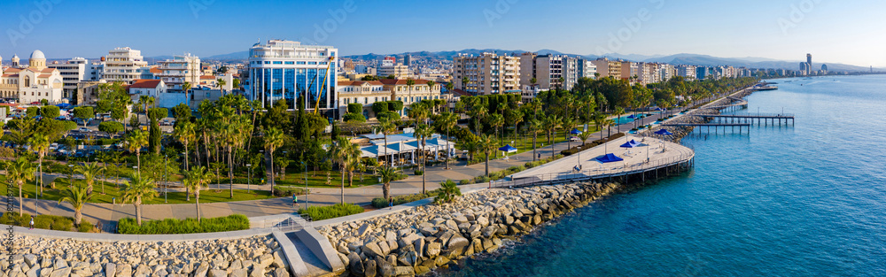 Fototapeta Republic of Cyprus. Limassol. The Seafront Of Limassol. The mediterranean coast. Tourist area with hotels. Panorama of Cyprus on a Sunny day. Rest on the Mediterranean.