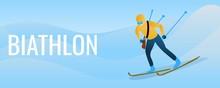 Biathlon Concept Banner. Carto...