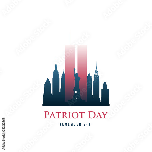 Fotografia  Patriot Day card with Twin Towers and phrase Remember 9-11