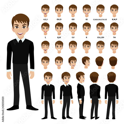 Cartoon character with business man in suit for animation Canvas-taulu