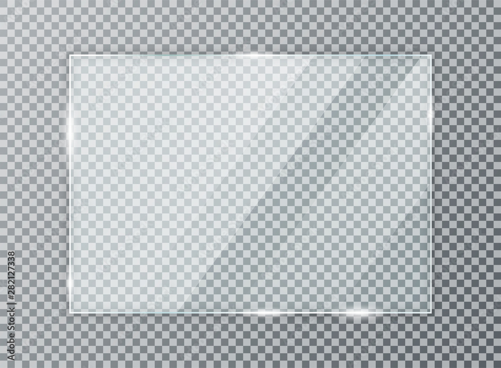 Fototapeta Glass plate on transparent background. Acrylic and glass texture with glares and light. Realistic transparent glass window in rectangle frame