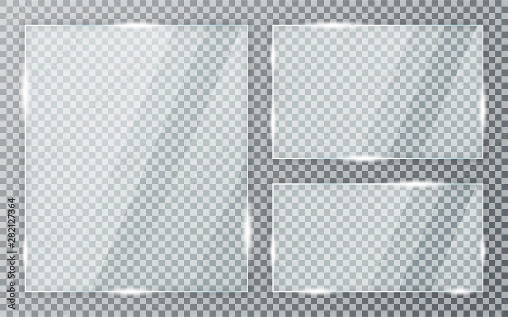 Fototapeta Glass plates set on transparent background. Acrylic and glass texture with glares and light. Realistic transparent glass window in rectangle frame