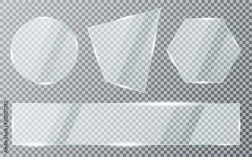 Photo Glass plates set on transparent background