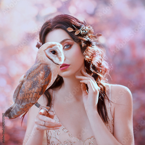 Fotografie, Tablou unity with nature, portrait photography of cute girl with fair skin and white ow