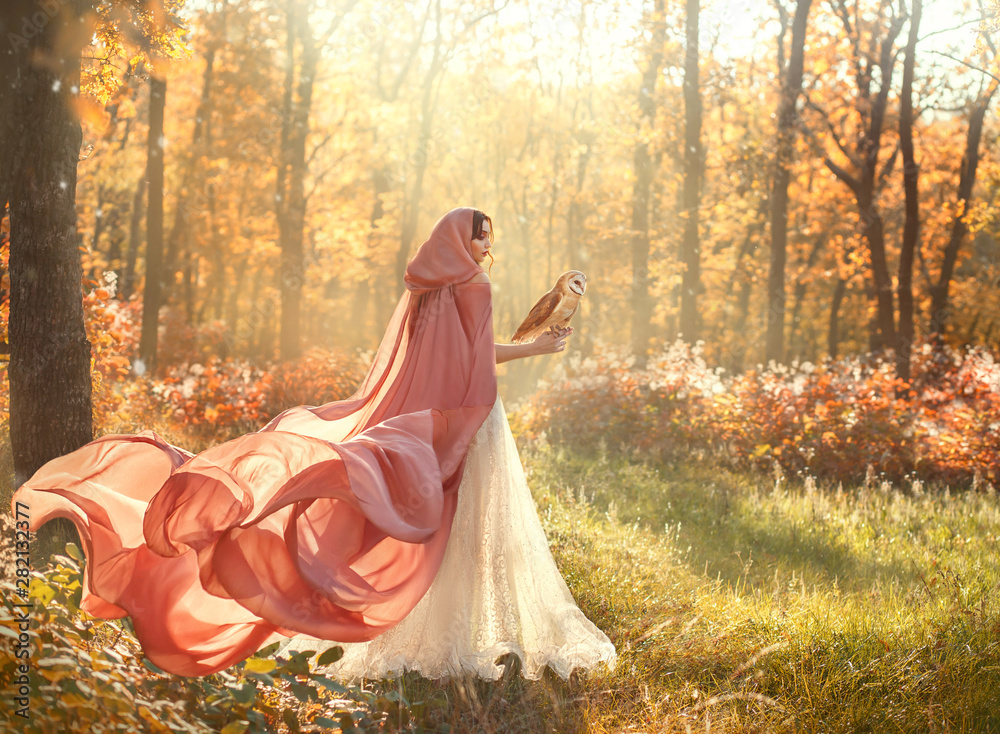 Fototapeta bright summer photo of mysterious beauty in morning forest, lady in shiny white dress and peach pink cloak with long train and hood, back to camera and turned face, girl with dark hair and barn owl