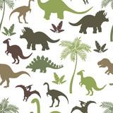 Fototapeta Dinusie - Seamless pattern with colorful dinosaur silhouettes