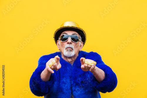 Fototapeta Eccentric senior man portrait obraz