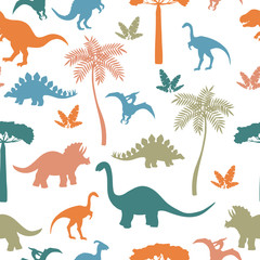Seamless pattern with colorful dinosaur silhouettes