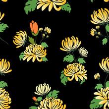 Yellow Chrysanthemum Vector Illustration Seamless Pattern In A Dark Background