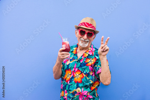 Eccentric senior man portrait