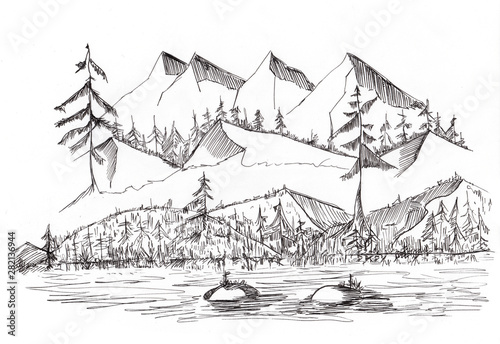 Sketch of wild Landscape with Mountains Hill and River, hand drawn illustration by Ink