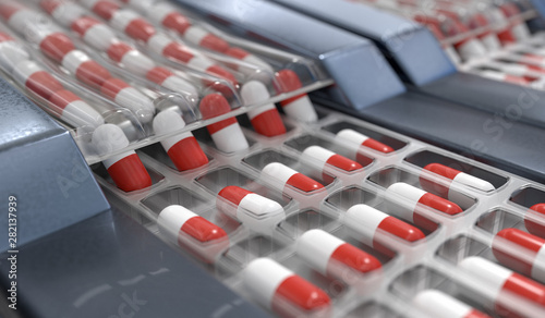 Stampa su Tela  Red and white capsules in pharmaceutical production line. 3D ren