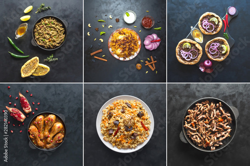 Collage with meat dishes of the world cuisine. Canvas Print