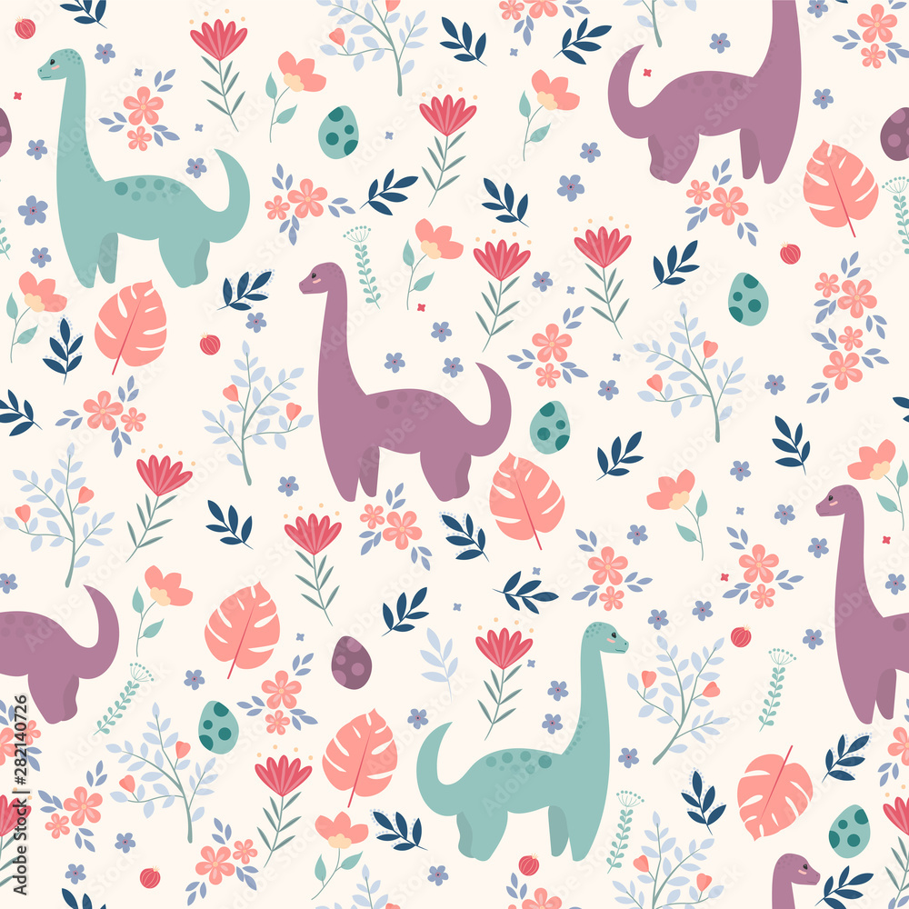 Seamless pattern with dinosaurs and tropical leaves and flowers. Perfect for kids fabric, textile, wallpaper. Cute dino design. Vector illustration