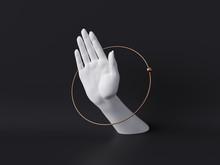 3d Rendering, White Decorative Female Mannequin Hand Isolated On Black Background, Body Part Inside Round Frame, Golden Ring, Luxury Fashion Concept, Fortuneteller Or Healer, Clean Minimal Design
