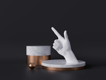 3d Rendering Of White Hand, Pointing Finger, Recommendation Concept, Marble Pedestal Isolated On Black Background, Gold Ball, Blank Cylinder Podium, Simple Clean Design, Luxury Minimal Mockup