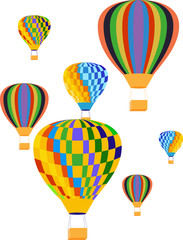 Vector image of balloons in the clouds