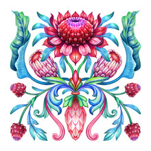 Ethnic Floral Ornament, Red Blue Green Folklore Motif Isolated On White Background, Square Botanical Kerchief Design, Traditional Embroidery Pattern, Modern Boho Fashion Print, Watercolor Illustration