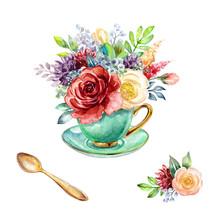 Watercolor Illustration, Green...