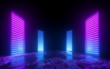 3d Render, Pink Blue Neon Abstract Background, Glowing Vertical Panels In Ultraviolet Light, Futuristic Power Generating Technology, Terrain