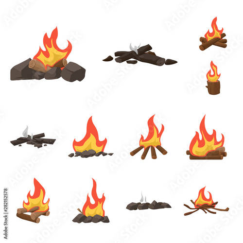 Printed kitchen splashbacks Illustrations Vector illustration of flame and fire icon. Collection of flame and camp vector icon for stock.