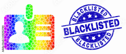 Photo Pixel bright spectral user id badge mosaic icon and Blacklisted watermark