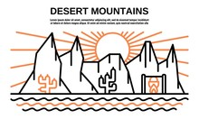 Desert Mountains Banner. Outli...