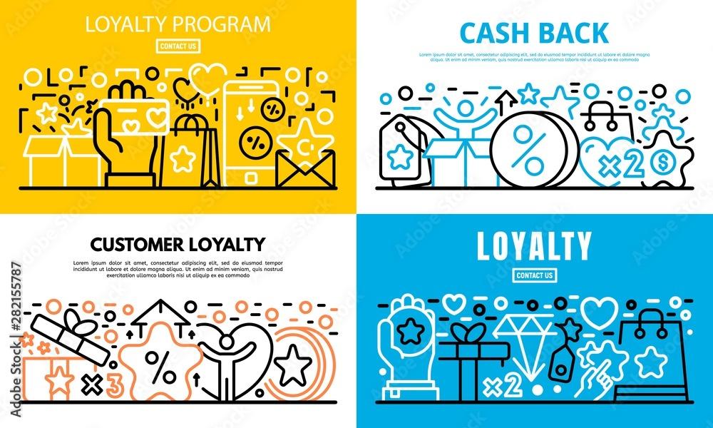 Fototapeta Loyalty program reward banner set. Outline set of loyalty program reward vector banner for web design