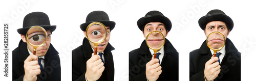 Sherlock Holmes with magnifying glass isolated on white фототапет