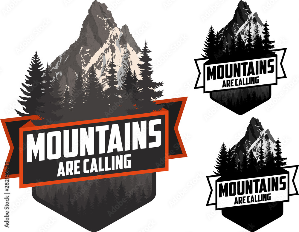 Fototapety, obrazy: The Mountains Are Calling. vector Outdoor Adventure Inspiring Motivation Emblem logo illustration