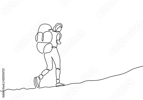 Fotografia one line drawing of traveler walking continuous design