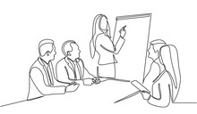Continuous Line Drawing Of Woman Writing Graph Marketing Executive On The Board With Group Of Business People Having Discussion In Conference Room. Creative Business Team Brainstorming Over Project