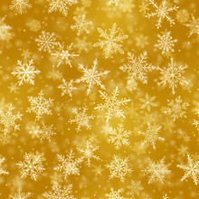 Christmas Seamless Pattern Of Complex Blurred And Clear Falling Snowflakes In Yellow Colors With Bokeh Effect