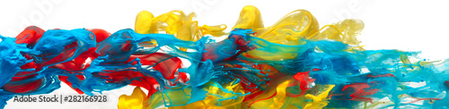 Photo  Red, yellow, and blue paints and inks swirling together in water abstract backgr
