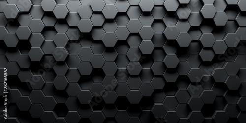 Fototapeta Dark hexagon wallpaper or background obraz