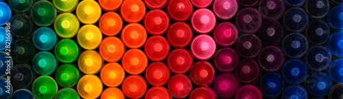 Fotografie, Tablou Box of crayons in a rainbow of colors background