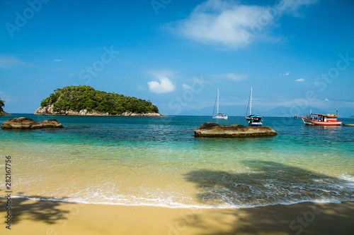Beach and sunny day - Ilha das Couves - Ubatuba - Brazil Canvas Print