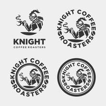 Knight Coffee Vector Logo, Modern Hipster