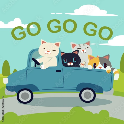 Foto auf AluDibond Cartoon cars The group of character cute cat driving a blue car for go to the trip.The cat driving a blue car on the road. cat smiling and they look have happyness. cute cat in flat vector style.