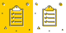 Black Clipboard With Checklist Icon Isolated On Yellow And White Background. Random Dynamic Shapes. Vector Illustration