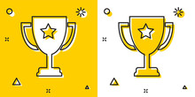 Black Trophy Cup Icon Isolated...