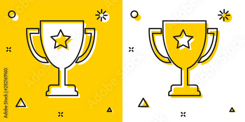 Photo Black Trophy cup icon isolated on yellow and white background