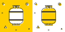 Black Propane Gas Tank Icon Isolated On Yellow And White Background. Flammable Gas Tank Icon. Random Dynamic Shapes. Vector Illustration