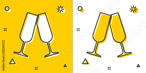 Fotografija Black Glasses of champagne icon isolated on yellow and white background