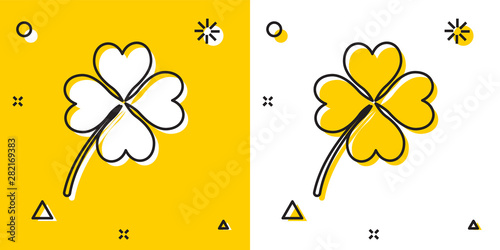Black Four leaf clover icon isolated on yellow and white background Tapéta, Fotótapéta