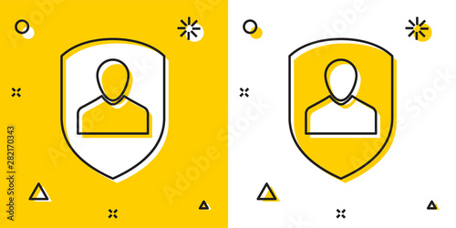 Black User protection icon isolated on yellow and white background Canvas Print
