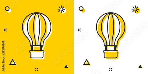 Valokuvatapetti Black Hot air balloon icon isolated on yellow and white background