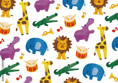 カラフルな水彩の動物と楽器の柄 Canvas Print